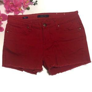 Vigoss Short Red Shorts Frayed Raw Hem Size 30
